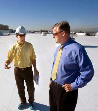 Clark's Quality Roofing, Carl consulting a mayor
